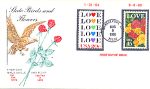 State Bird & Flower Double Love Stamp 1988 Fdc