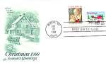 Christmas 2 Stamp With House, Horse & Sleigh, Berlin Nh