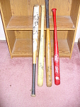 4 Autographed Cleveland Indians Bats From Various Years