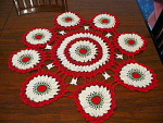 Christmas Meshed Style Small Table Cover, Hand Crochete