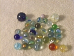 Collection Of 34 Glass Marbles In Multiple Sizes And Co