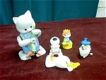 5 Vintage White Knob Wind Up Toys