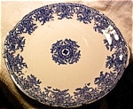 English Flow Blue Cake Plate 1911