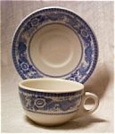 Vintage Trenton China Co. Flow Blue Cup And Saucer-c.1859 To 1891