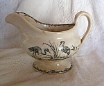 Black English Transferware Gravy Boat-herons