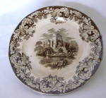 Castle By J.t. English Transferware Plate Brown-black