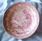 1872 English Red Transferware Demitasse Saucer-farm