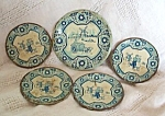 Delft Childrens Tin Litho Dishes Lot Of 5