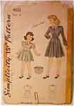 Vintage C.1940's Simplicity Girl's Dress Pattern Size 6