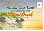 Miami Beach,fl Linen Souvenir Folder