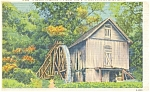 Grist Mill With Water Wheel Postcard Linen
