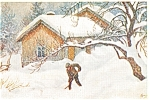 Winter Scene Snow Shoveler Postcard
