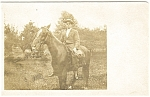 Boy On Horseback Postcard Real Photo