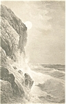 Waves On Rocky Coast Vintage Postcard 1914