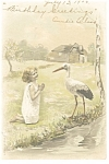 Little Girl With Stork Postcard 1906