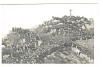Pilgrims On Hillside Below A Cross Postcard