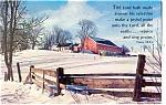 Farm Scene Red Barn Postcard Psalm 98:2-4