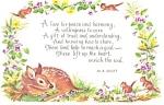 Ma Scott Poem Postcard Fawn And Chipmunks