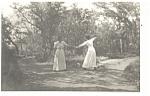 Two Dancing Victorian Women Postcard