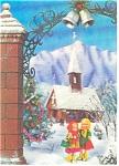 Two Little Girls Walking In Snow 3-d Postcard