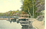 Boats At Pier On Lake, Scenic Postcard