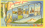 Big Letter Greetings From Oregon Postcard
