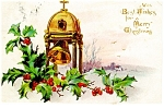Holly And Church Bell Raphael Tuck Postcard