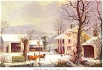Winter Time At Jones Inn Currier And Ives Postcard