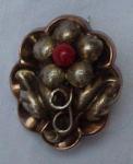 9k Victorian Pin W/flower Design