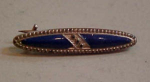 Victorian Bar Pin With Blue Enameling