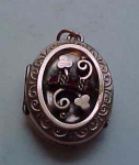 Victorian Locket With Clovers And Stones