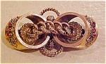 Victorian Gf Pin W/red Rhinestones Fs Co.