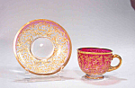Gorgeous Moser Cranberry Demi Cup And Saucer Hvy Gold