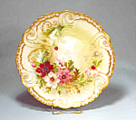 Gorgeous Limoges Charger Hp Flowers Raised Gold