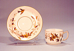 Limoges Demi Cup And Saucer Gold Bronze Bird Flowers