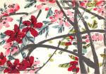 Chinese Color Woodcut Kirschblutenzweig
