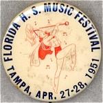 1951 Tampa Florida Music Festival Souvenir Pinback Button
