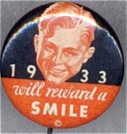 1933 Smile Dentist Healthy Teeth Pin Back Button