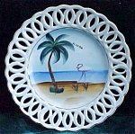 Florida Souvenir Hand Painted Flamingo Palm Tree Plate