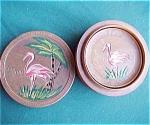 Flamingo Florida Souvenir Wood Coasters And Box