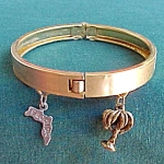 Florida Souvenir Palm Tree And Map Charm Bracelet Jewelry