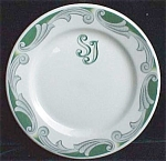 Stenciled S J Restaurant Ware Plate- Syracuse China