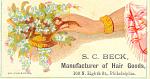 Becks Hair Goods Trade Card