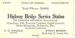Highway Bridge Service Station Trade Card