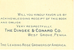 Dingee Conard Rose Grower Trade Card