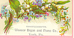 Weaver Organ Piano Trade Card York, Pa