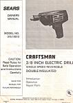 Sears Craftsman 3/8 Electric Drill Manual