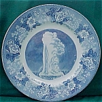 Old Faithful Geyser Yellowstone Flow Blue Souvenir Plate