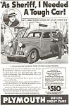 Plymouth Sheriff's Tough Car Ad 1936
