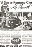 Plymouth Sweet Running Car Ad 1933